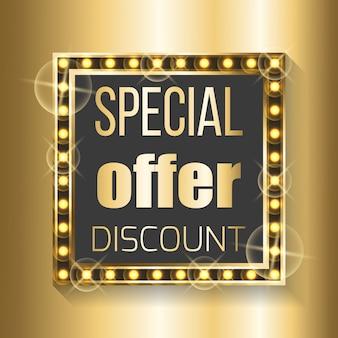 Offre spéciale de réduction dans un cadre carré sur doré
