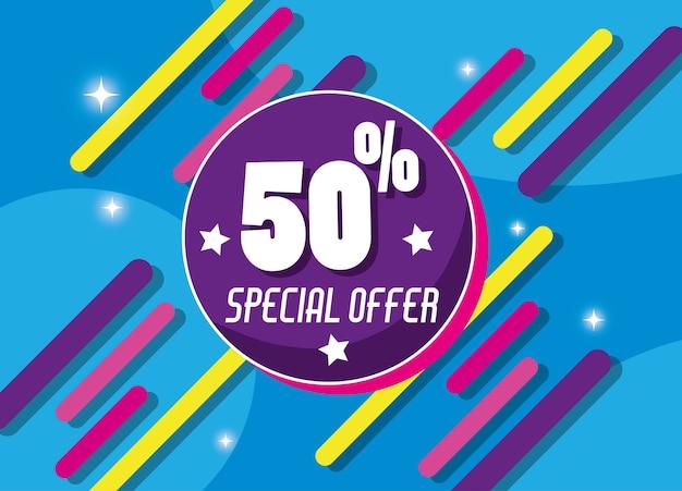 Offre spéciale shopping affiche colorée