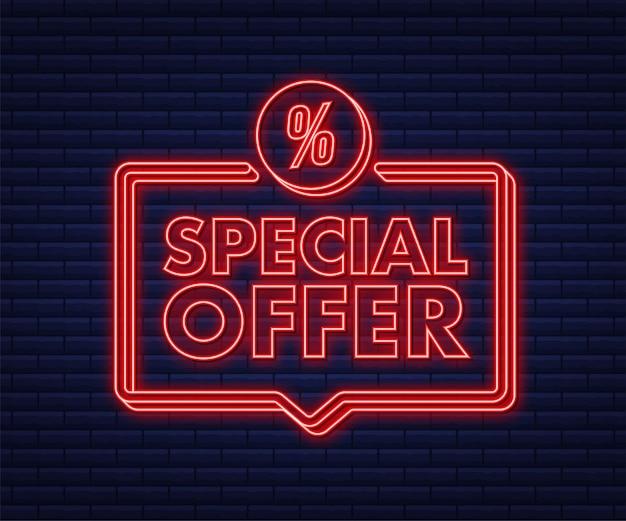 Offre spéciale de style néon de couleur rouge. étiquette de remise. illustration vectorielle de stock.