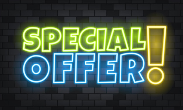 Offre spéciale texte néon sur fond de pierre. offre spéciale. pour les affaires, le marketing et la publicité. vecteur sur fond isolé. eps 10.