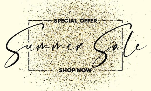 Offre spéciale texte de vente d'été sur la texture dorée gliiter. élément de conception. pour les affaires, le marketing et la publicité. vecteur sur fond isolé. eps 10.