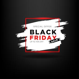 Offre spéciale vendredi noir avec pinceau et ligne rectangle rouge