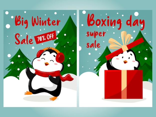Offre spéciale vente de noël belle bannière de réduction avec des pingouins mignons sur fond d'hiver