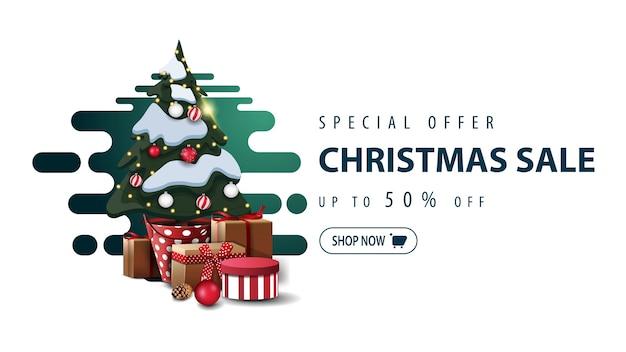 Offre spéciale, vente de noël, jusqu'à 50 off, bannière minimaliste blanche avec vert