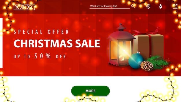 Offre spéciale, vente de noël, jusqu'à 50 rabais, bannière de réduction rouge et blanche pour site web avec texture polygonale, guirlande, bouton vert et lampe antique avec cadeau