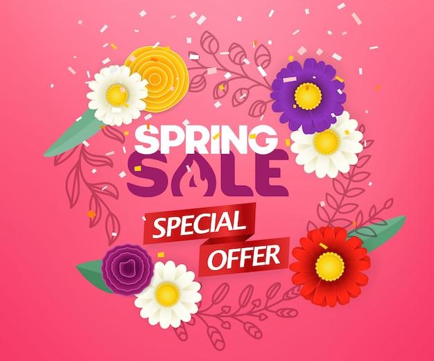 Offre spéciale vente de printemps. cadre rond blanc avec des fleurs de couleur abstraite. bannière de saison vecteur