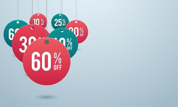 Offre spéciale vente tag remise symbole vente au détail autocollant signe prix isolé