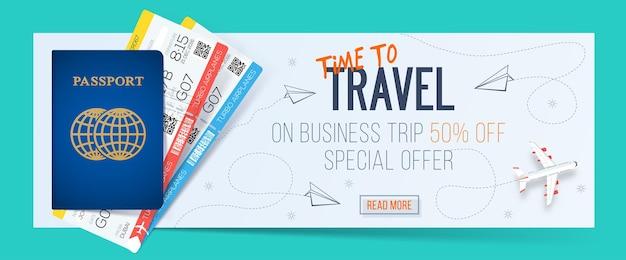 Offre spéciale sur les voyages d'affaires. bannière de voyage d'affaires