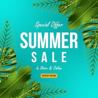 Offre de vente d'été conception de bannière avec fond de feuilles