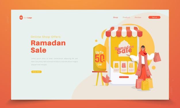 Offres de boutique en ligne pour le concept de vente ramadan