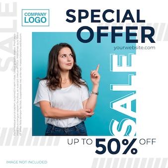 Offres promotionnelles. modèle pour la conception de promotions pour les médias sociaux