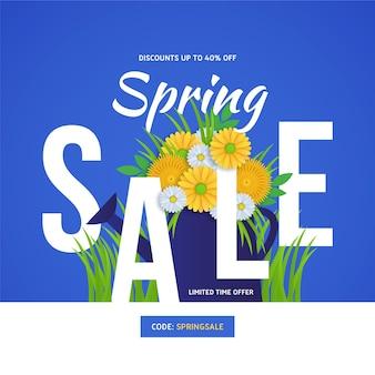 Offres de soldes de printemps avec bouquet de fleurs