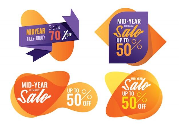 Offres spéciales et bannière de promotion. vente de mi-année, vente d'été.