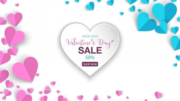 Offres spéciales de vente de bannière de saint valentin avec coeur