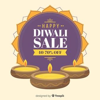 Offres de vente festives diwali dessinées à la main