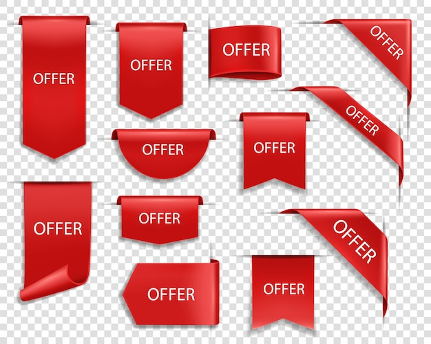 Offrez des bannières rouges, des rubans isolés et des étiquettes. vente de drapeaux avec bords recourbés, étiquettes, badges d'offre de vente. coins d'affaires web, ensemble d'icônes 3d réalistes d'événement promotionnel de soie d'escompte