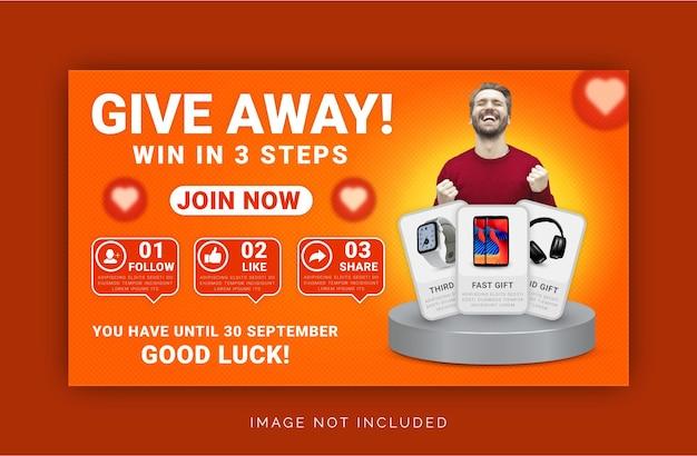 Offrez un produit gagnant en trois étapes modèle de bannière web sociale