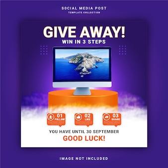 Offrez un produit gagnant en trois étapes modèle de publication sur les réseaux sociaux de la bannière de l'histoire instagram