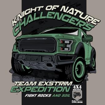 Offroad défi nature, illustrations de voiture vectorielles