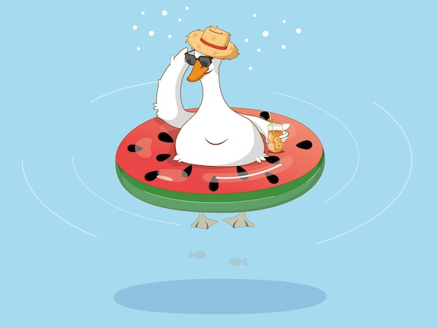 Une oie blanche dans un chapeau et des lunettes nage dans la piscine sur un cercle gonflable