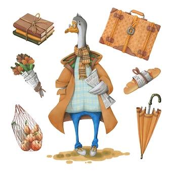 Oie dans un manteau et un journal.