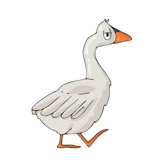 Oie sur fond blanc vecteur de dessin animé mignon