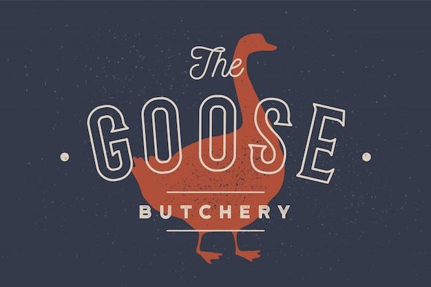 Oie. logo avec silhouette d'oie, texte goose, boucherie