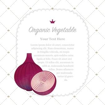 Oignon rouge de cadre de mémo de légumes bio texture aquarelle colorée nature