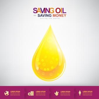 Oil vector concept saving oil saving money économiser de l'argent