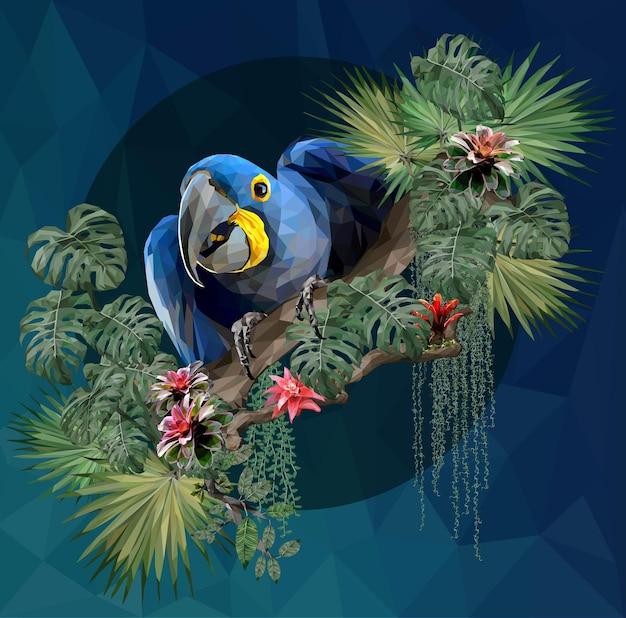 Oiseau ara illustration polygonale avec feuilles de la forêt amazonienne.