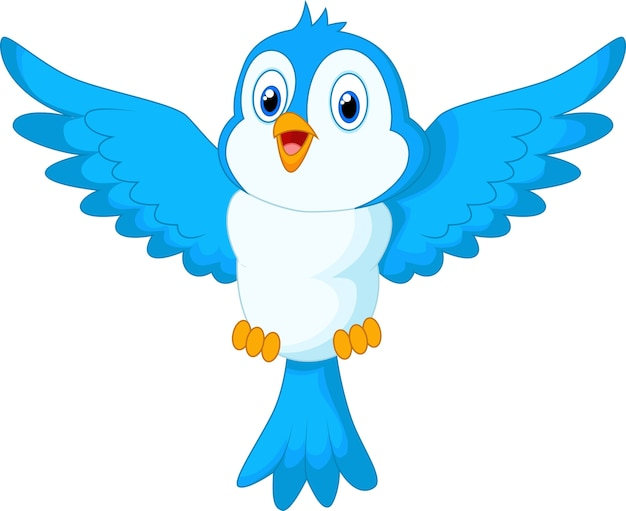 Oiseau bleu mignon dessin animé