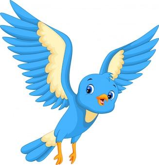 Oiseau bleu mignon volant