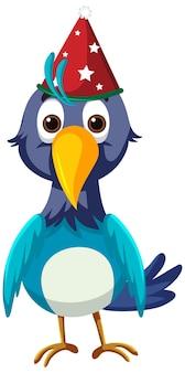 Oiseau bleu portant le personnage de dessin animé de chapeau de noël