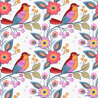 Oiseau sur branche avec motif sans soudure de fleurs