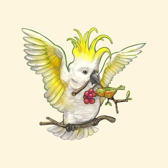 Oiseau de cacatoès dessinés à la main isolé