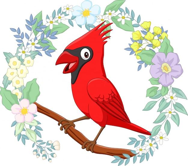 Oiseau cardinal de dessin animé sur une branche d'arbre avec fond de fleurs