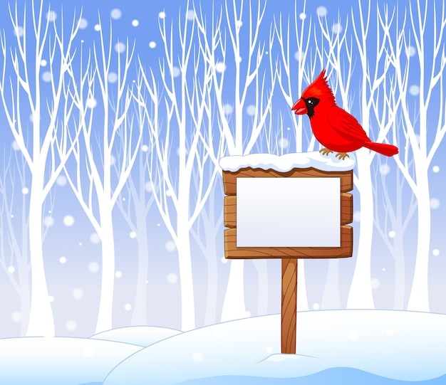 Oiseau cardinal de dessin animé sur le signe vierge
