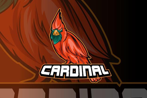 Oiseau cardinal esport et création de logo mascotte sport dans le concept d'illustration moderne