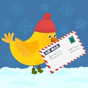 Oiseau avec chapeau distribue le courrier de noël