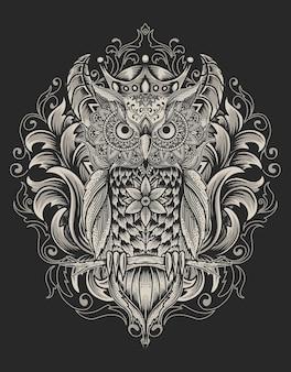 Oiseau chouette illustration avec style ornement mandala