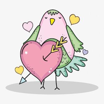 Oiseau avec coeurs et flèche pour la célébration de la saint-valentin
