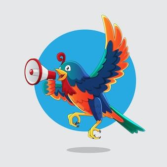 Oiseau Coloré Avec Illustration Mégaphone Vecteur Premium