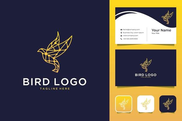 Oiseau avec conception de logo moderne low poly et carte de visite