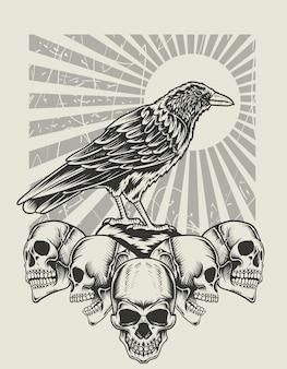 Oiseau de corbeau d'illustration avec le style monochrome de tête de crâne
