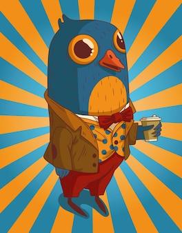 Un oiseau en costume est sorti du travail pour un café