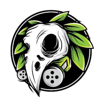 Oiseau de crâne avec illustration vectorielle de feuille