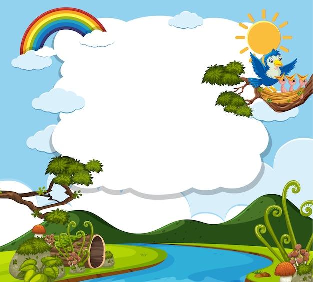 Oiseau dans la bannière vierge de la nature