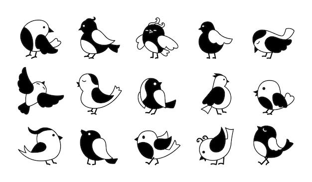 Oiseau dans un jeu de dessin animé de glyphe noir pose différente