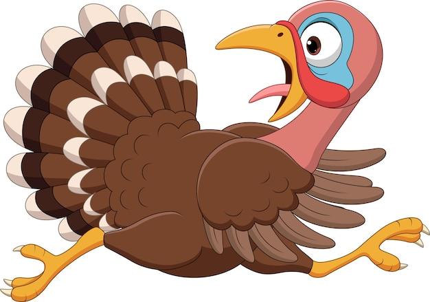Oiseau de dinde drôle de dessin animé en cours d'exécution