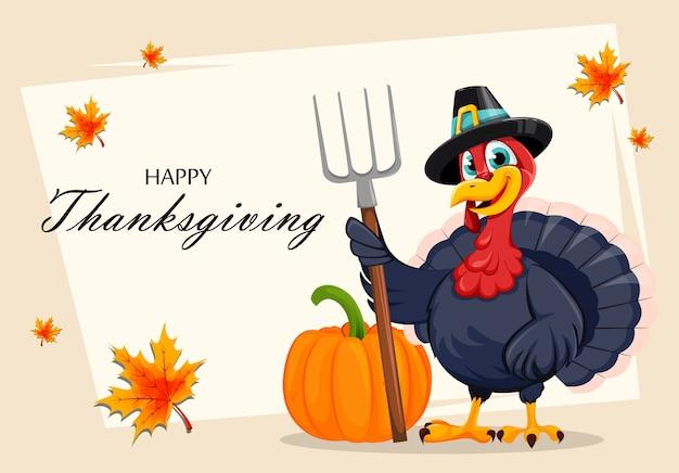 Oiseau drôle de dinde de thanksgiving au design plat